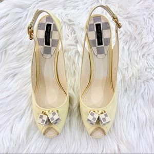 Louis Vuitton Patent Saint Honore Dice Heels 41